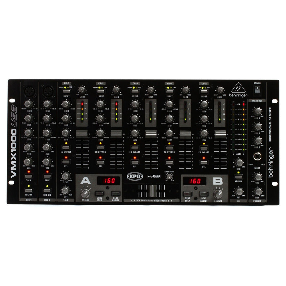 Behringer VMX1000USB 7-Channel Rack-mountable DJ Mixer 705105163482 front view