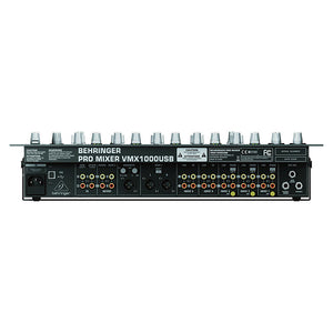 Behringer VMX1000USB 7-Channel Rack-mountable DJ Mixer 705105163482 top rear view