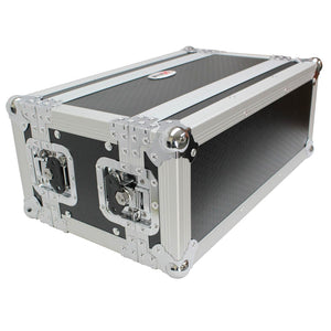 "ProX X-4U7D 4U Deluxe Effects Rack 7"" Deep Rail to Rail with Handle 019372410294 closed view with cover"