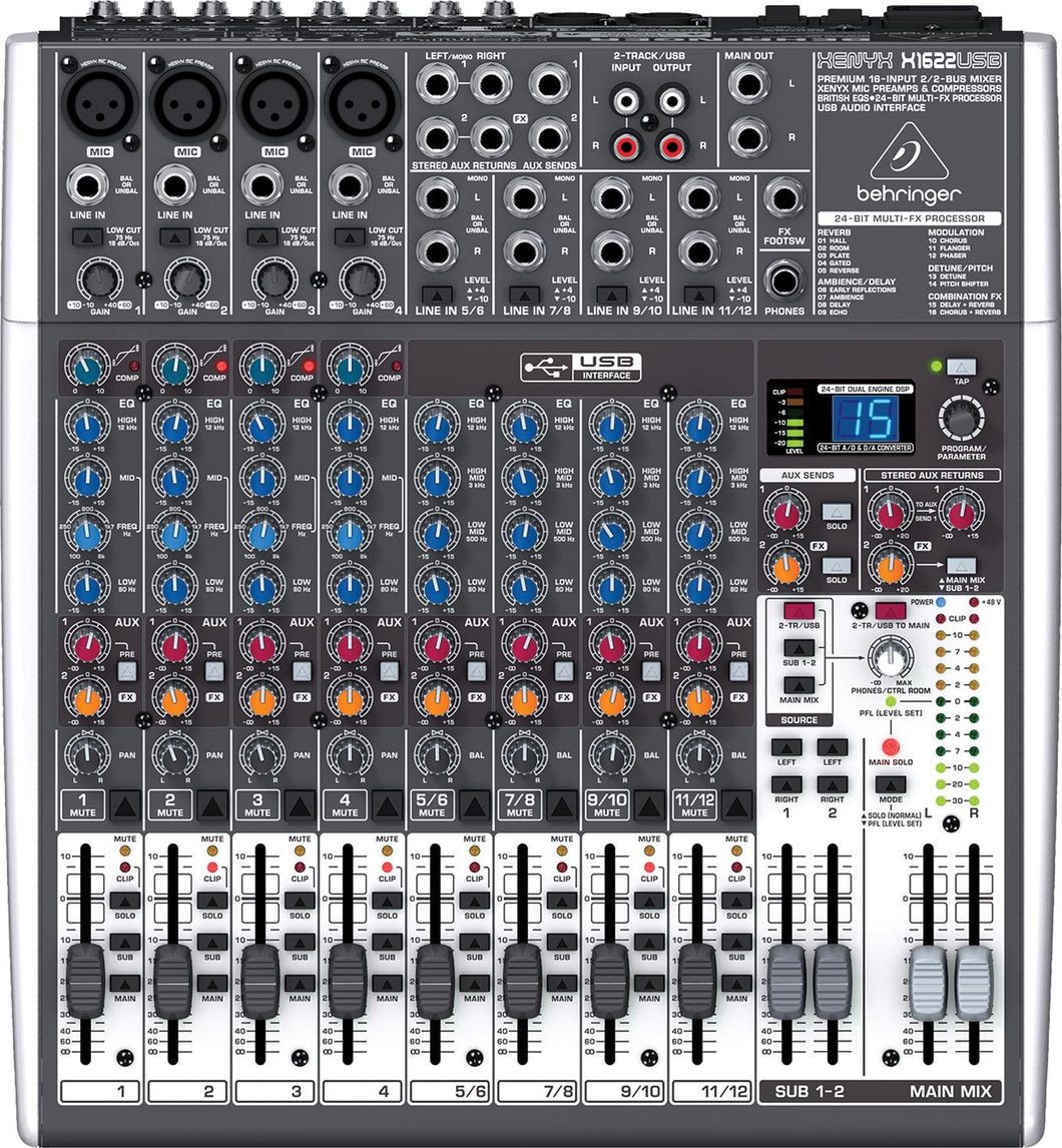 Behringer XENYX X1622USB 16-Input USB Audio Mixer with Effects 736211583246 100-240V front nearby