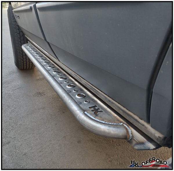 WJ Rock Sliders (Dimpled Steel Design - Mounts Under Factory Rocker)