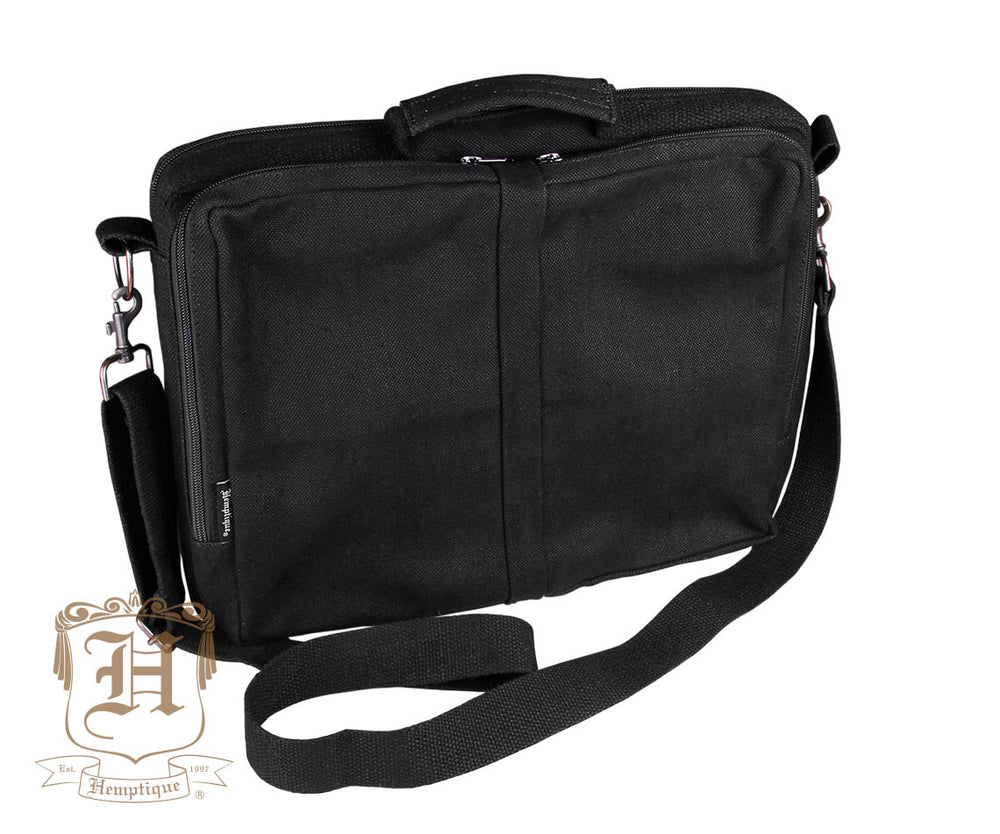 Hemp Downtown Laptop Bag - Black - Hemptique