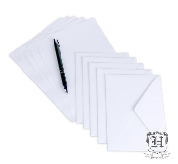 Handmade Hemp Paper Card Set 5-Pack White (A5 250GSM) - Hemptique
