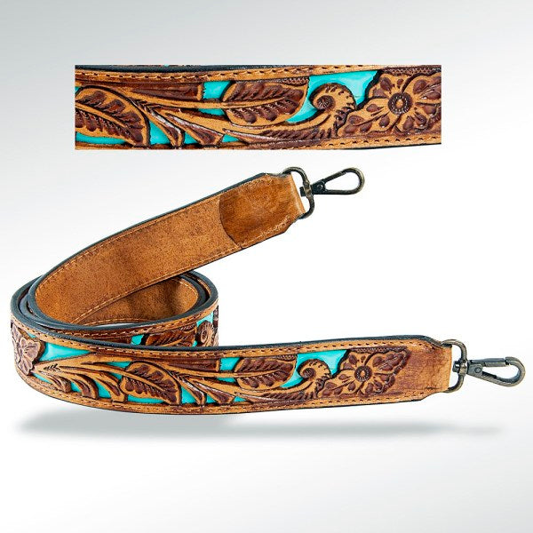 Tooled Purse Strap - Turquoise Flower