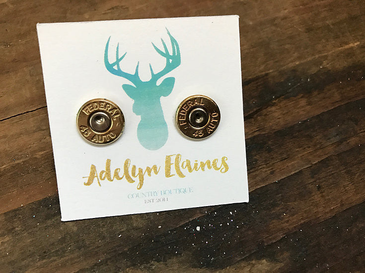 Federal 45 Auto Caliber Brass Bullet End Earring Studs