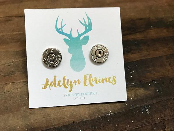 9mm Caliber Bullet End Earring Stud