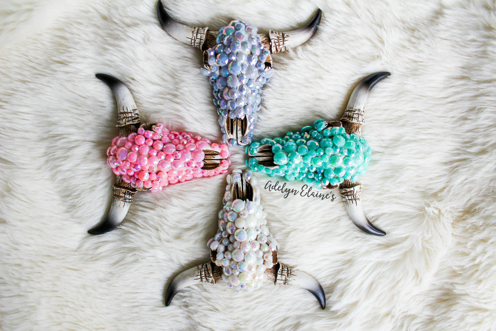 Glam Squad Bull Skull Rear View Mirror Hangers