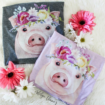 Miss. Petunia T-Shirt - Watercolor Floral Pig