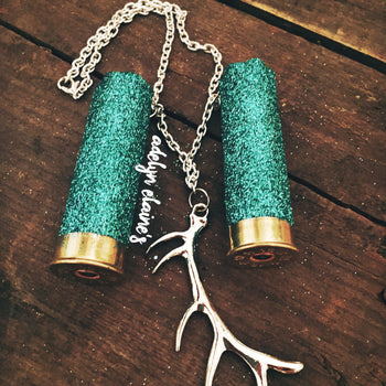 Custom Color 12 Gauge Glitter Shotgun Shell Rearview Mirror Hanger with  Deer Antler