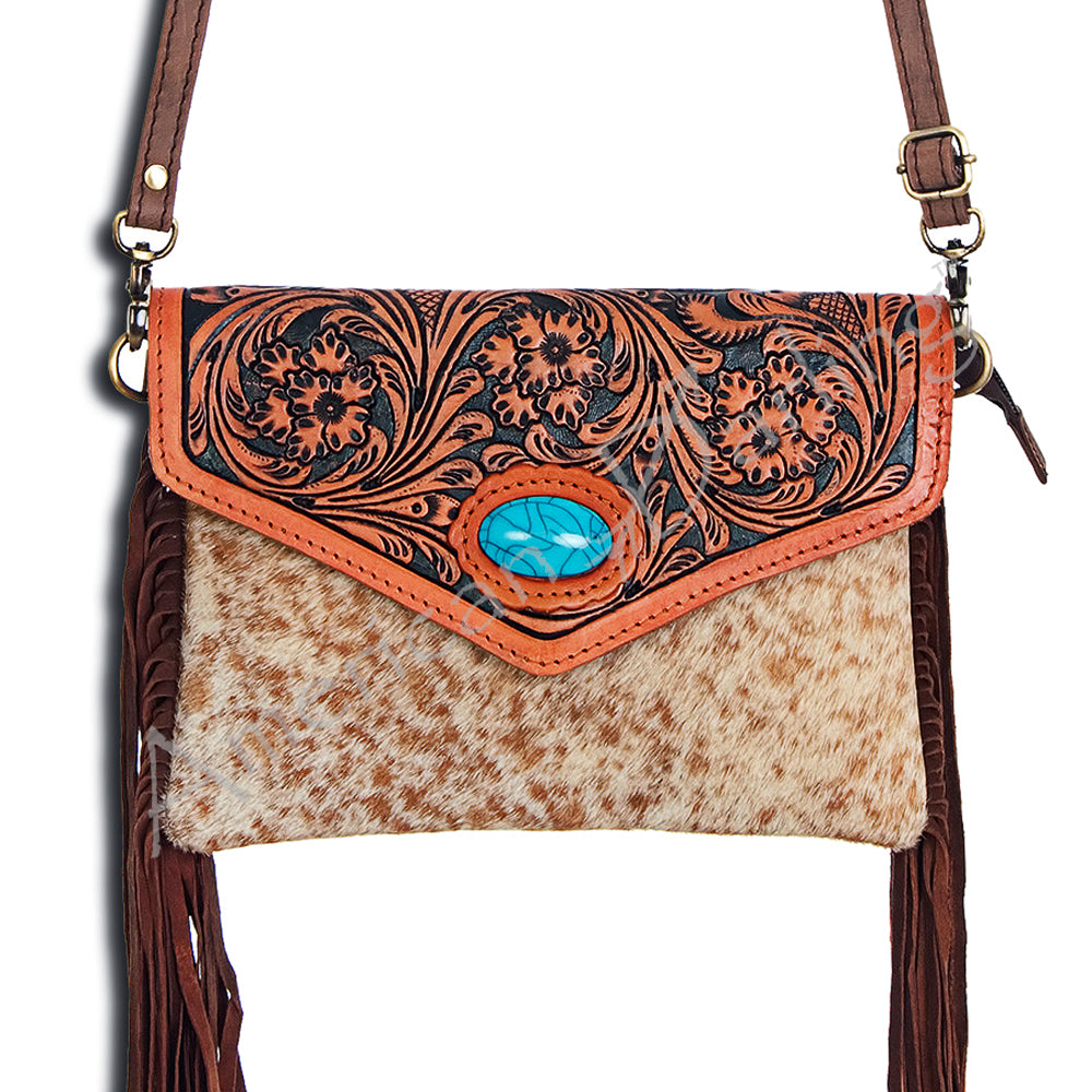 Round Top - Cowhide + Turquoise Purse