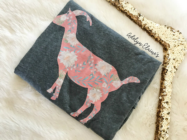 Miss. Billy Floral Goat - Gray Crew Neck T-Shirt