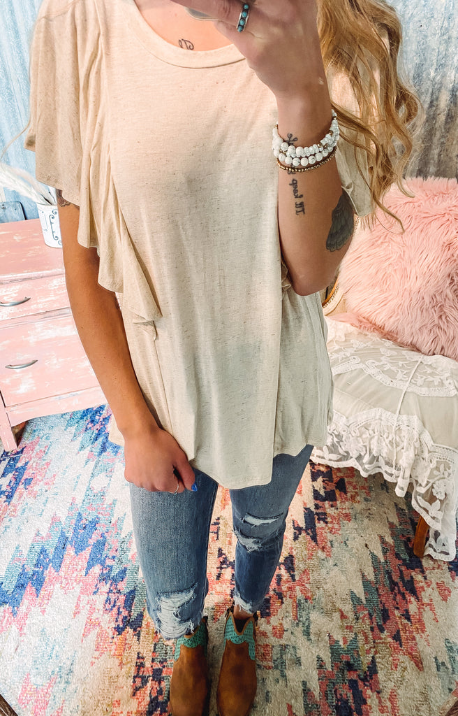 Ruffle Sleeve Top - Blue + Oatmeal