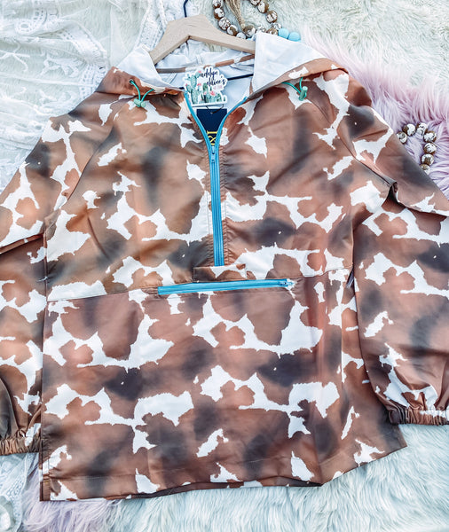 The Gambler- Cow Print Windbreaker
