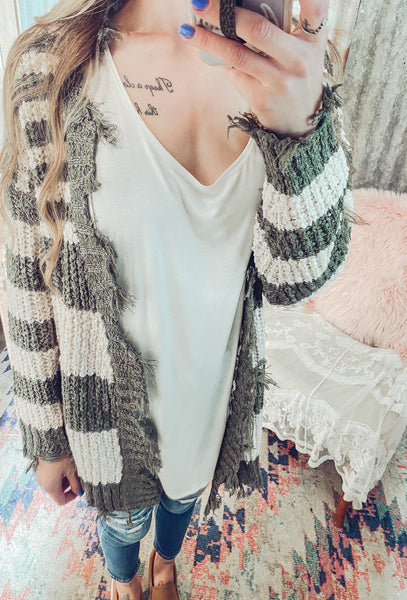 Happy Hour- Distressed Cardigan M/L left
