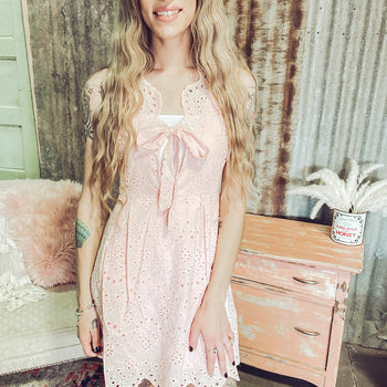 Sunday Brunch- Blush Lace Dress