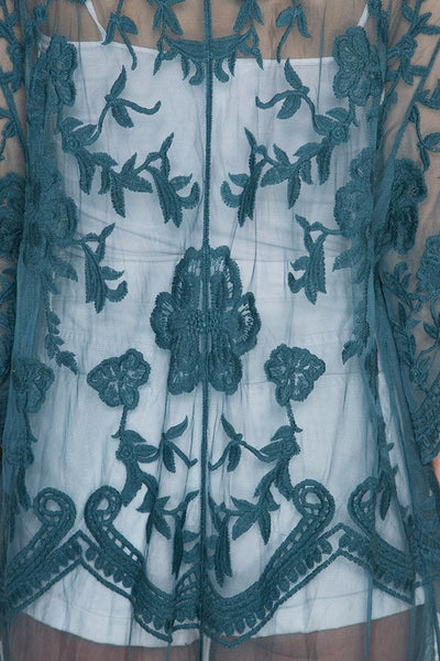 Teal Embroidered Lace Duster