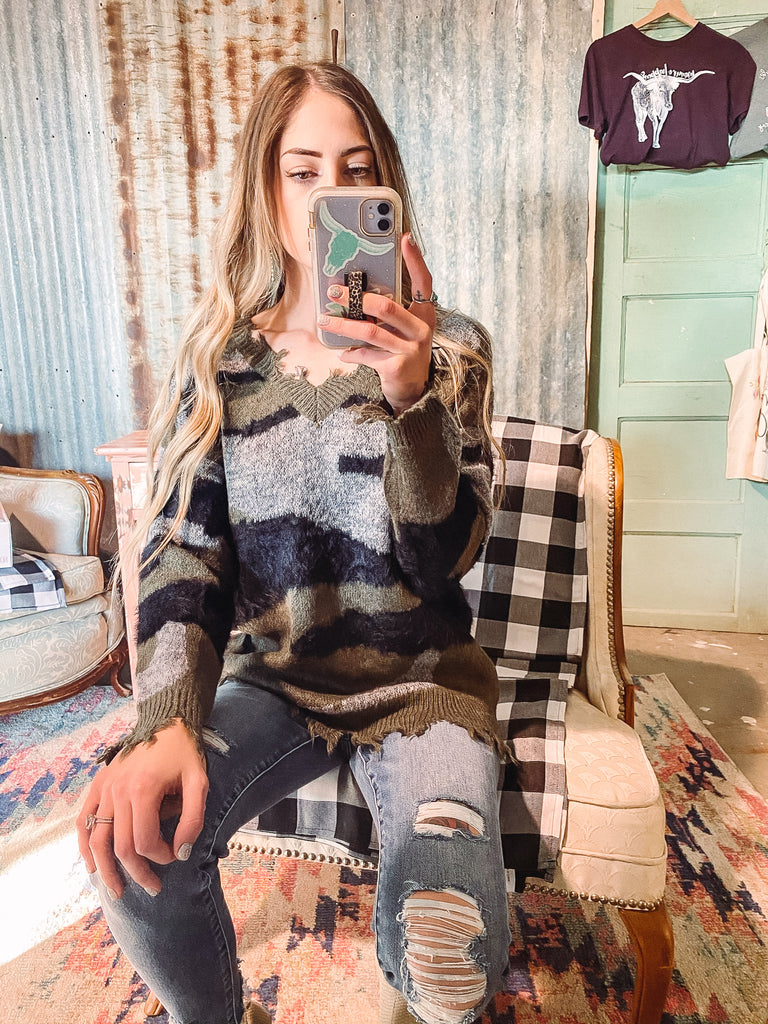 Camo Distressed Sweater