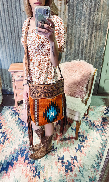 Arabian - Tooled Leather Saddle Blanket Purse