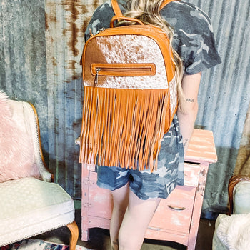 Mississippi Mud Cowhide Fringed Backpack