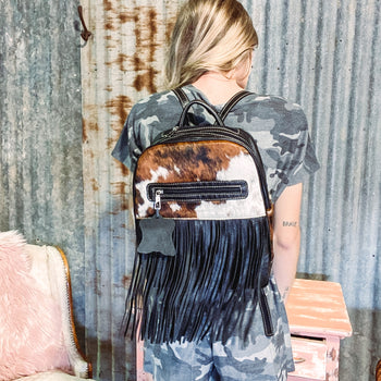 Missouri Flats Tricolored Cowhide Fringed Backpack