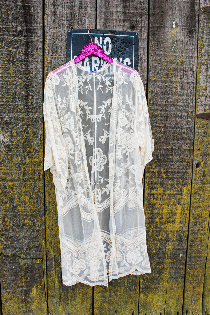 Embroidered Lace Duster