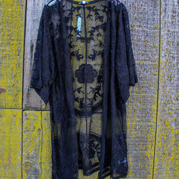 Black Embroidered Lace Duster
