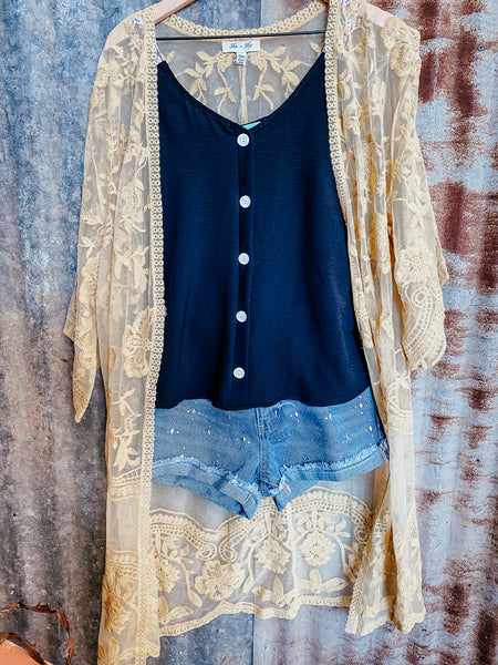 Daffodil Embroidered Lace Duster