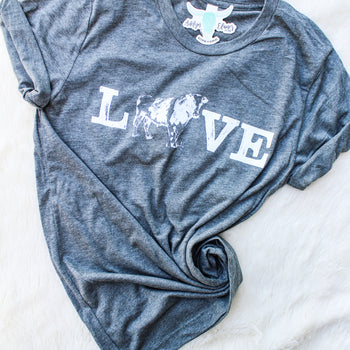 LOVE COWS - Crew Neck T-Shirt