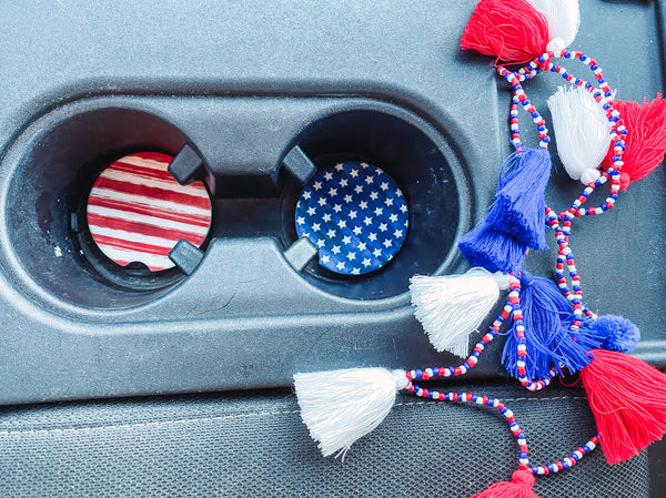 Red, White & Blue Tassel Car Necklace