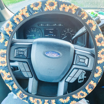 Black Sunflower - Steering Wheel Cover