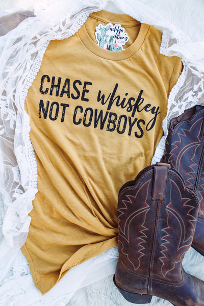 Chase Whiskey Not Cowboys - Crew Neck T-Shirt