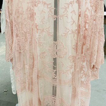 Dusty Pink Embroidered Lace Duster