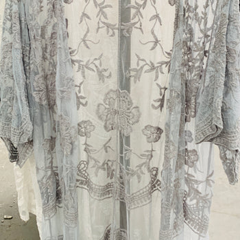 Gray Embroidered Lace Duster