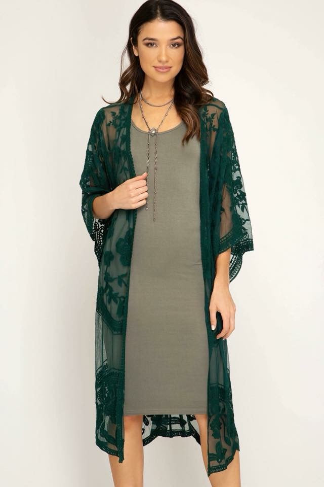 Emerald Green Embroidered Lace Duster