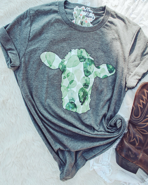 Cactus Cow - Crew Neck T-Shirt