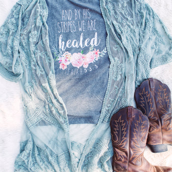 Dusty Sage Embroidered Lace Duster