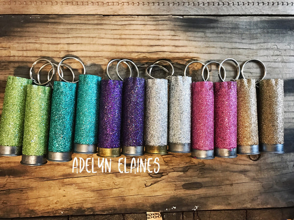 Choose Your Own Glitter Color 12 Gauge Shotgun Shell Rear View Mirror Hanger