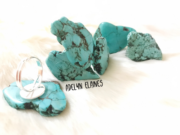 Turquoise Slab Adjustable Rings