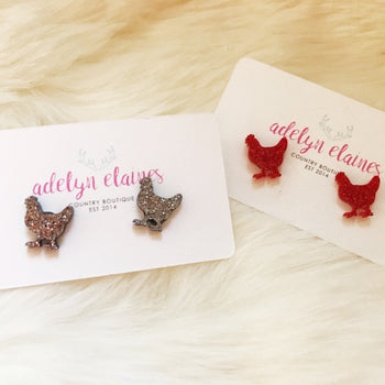 Chicken Red Glitter Earring Studs