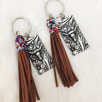 Bull Skull Keychain with Leather Tassel