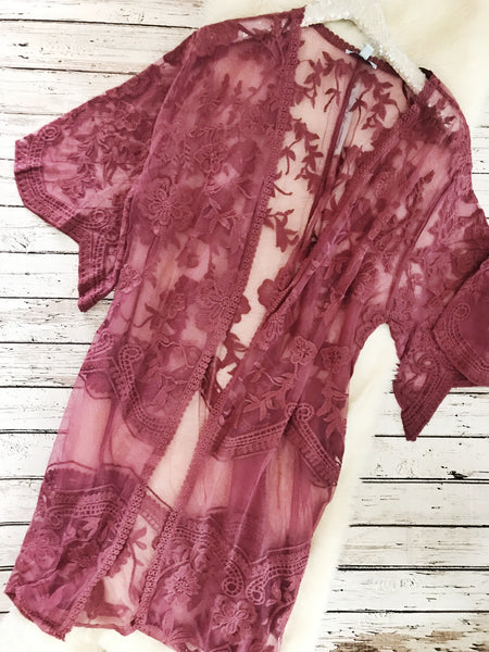 Pink Embroidered Lace Duster