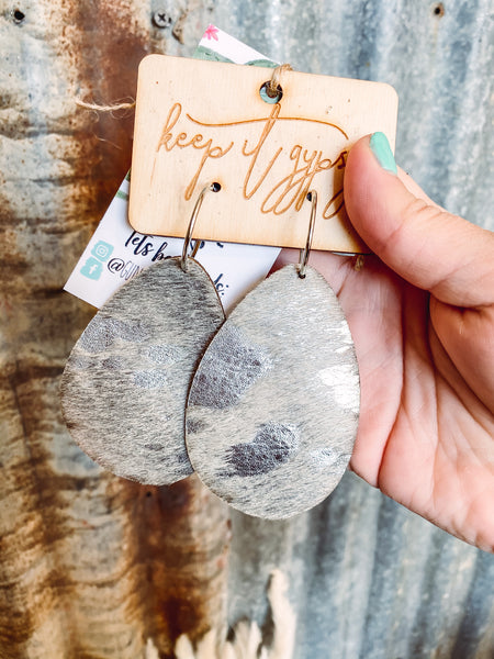 Silver Acid Wash - Leather Teardrop Earrings