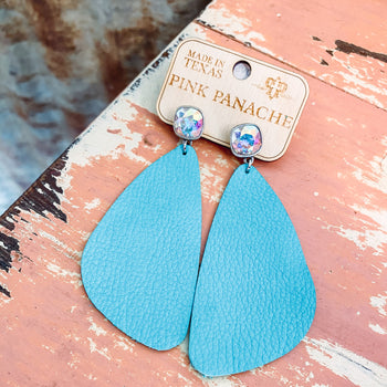 Teal Swarovski Leather Earrings
