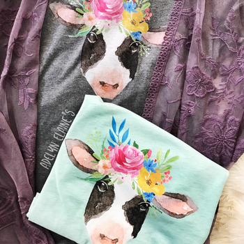 Miss. Bessy T-Shirt - Watercolor Floral Cow