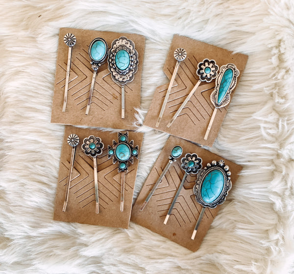 Turquoise Pendant Hair Pins