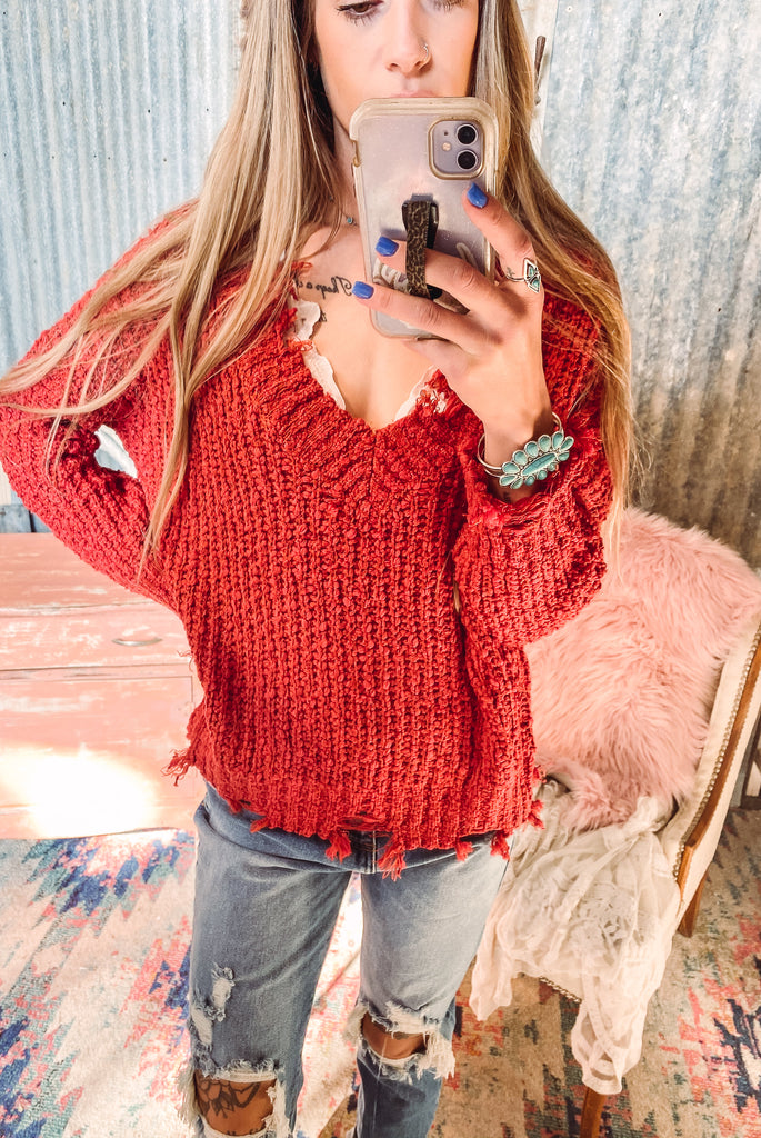 Red Clay Distressed Sweater - S/M left