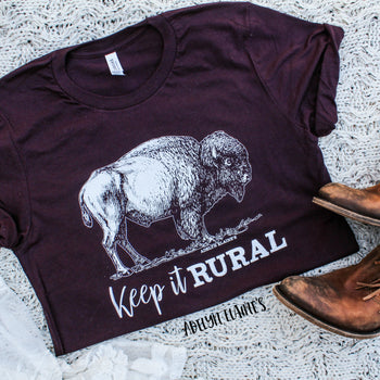 Keep It Rural - Deep Maroon Crew Neck T-Shirt