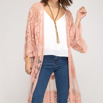 Blush Embroidered Lace Duster