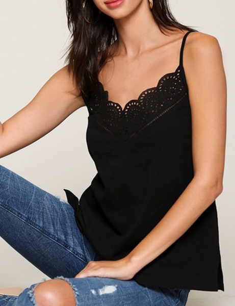 Any Man of Mine - Eyelet Lace Cami Top