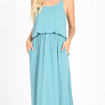 Dusty Teal Layered Maxi Dress